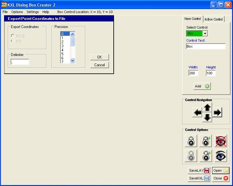 KXL dialog box application interface
